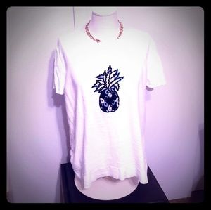 White sweater pineapple embroidered tee